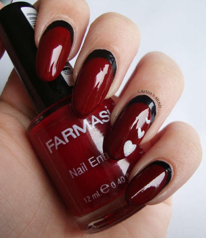 Red & Black nail art by Christina