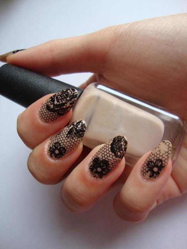 Nude Lace Nails nail art by Christina