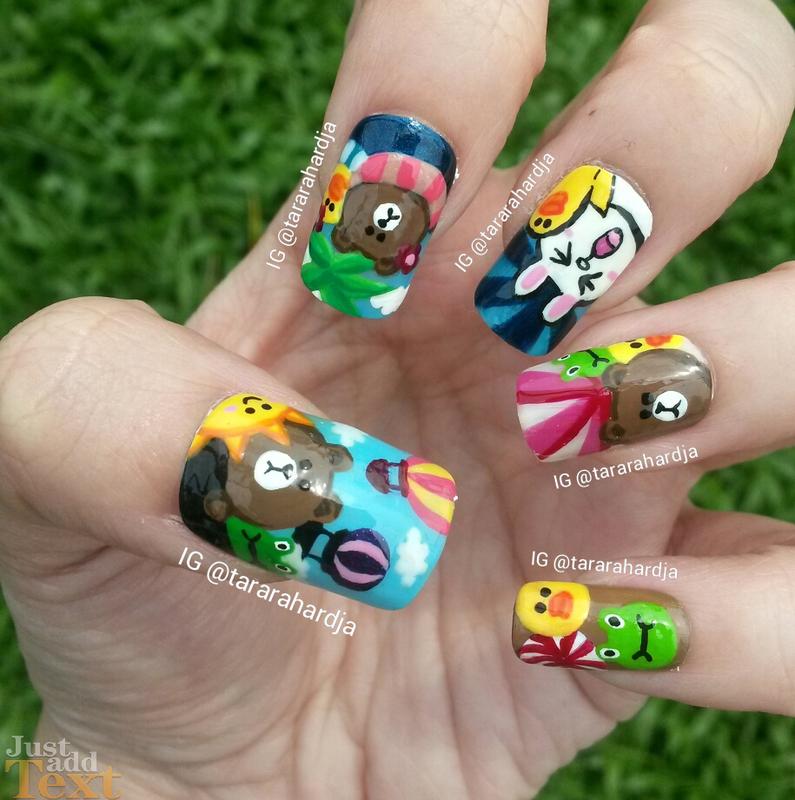 LINE POP! nail art by Tara Rahardja