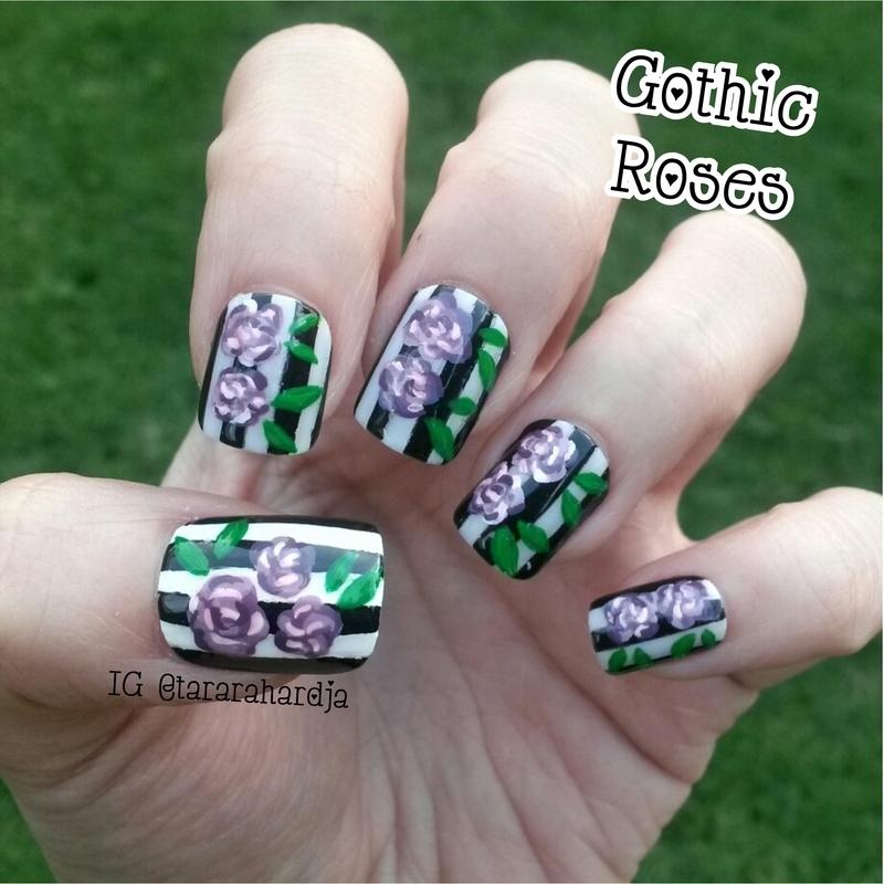 Gothic Roses nail art by Tara Rahardja