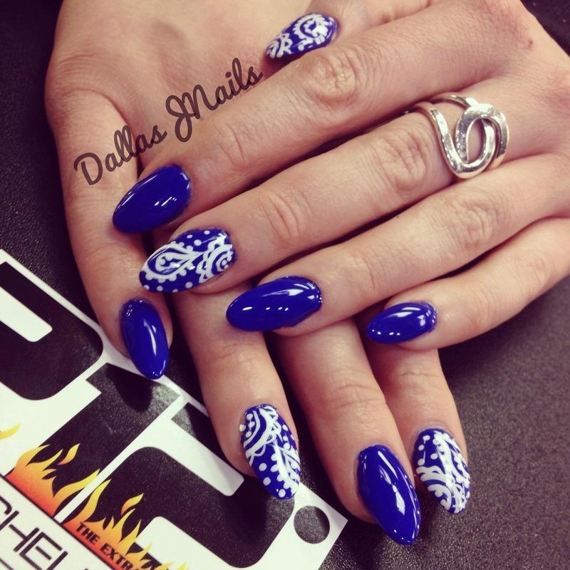 Blue bandana  nail art by Dallas