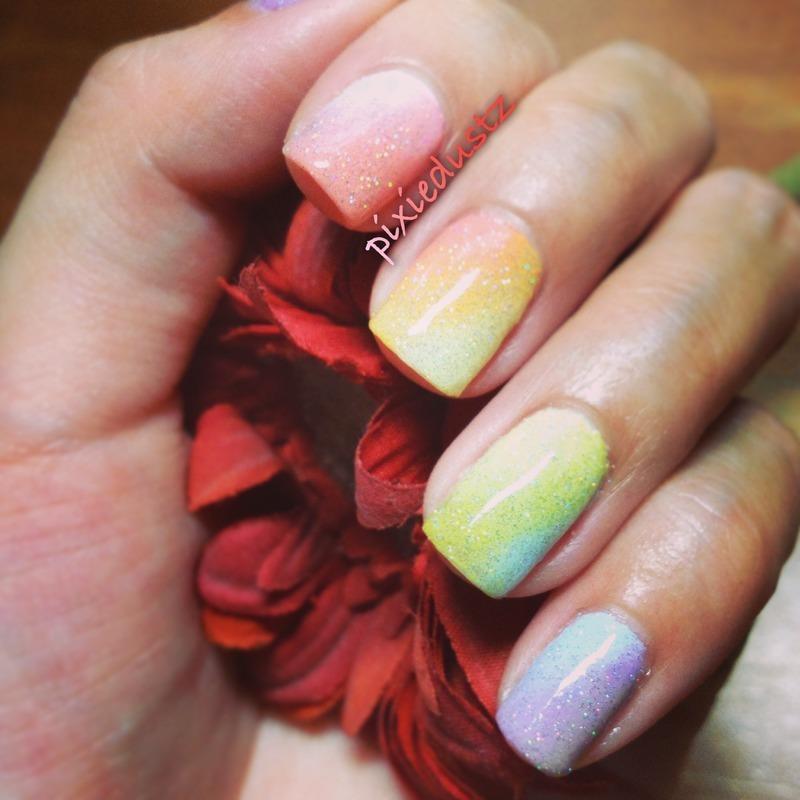 Pastel Ombré nail art by Shea Tan
