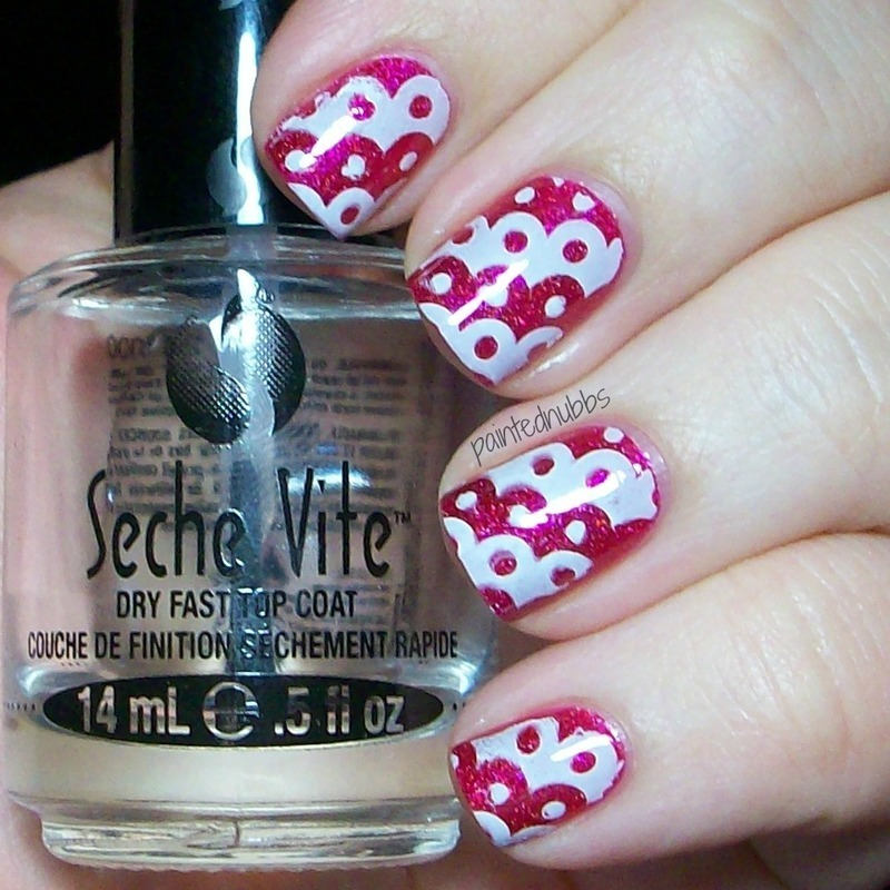 Pueen Pink Dots nail art by Ashlee