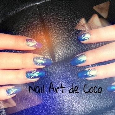 Nail Art Silver and Dark Blue nail art by Coco
