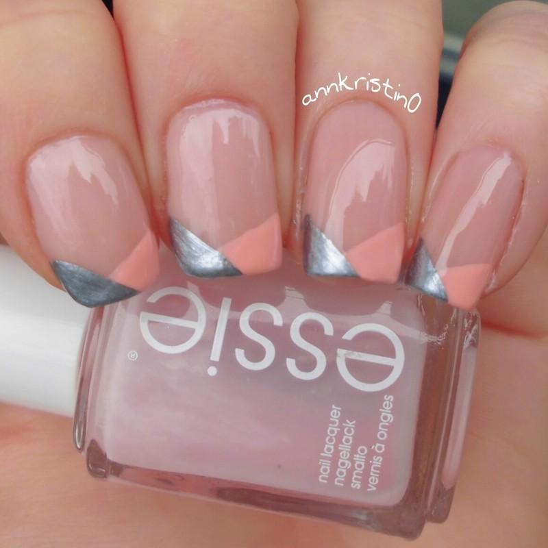 Metallic Blue & Peach Chevron French Tips nail art by Ann-Kristin