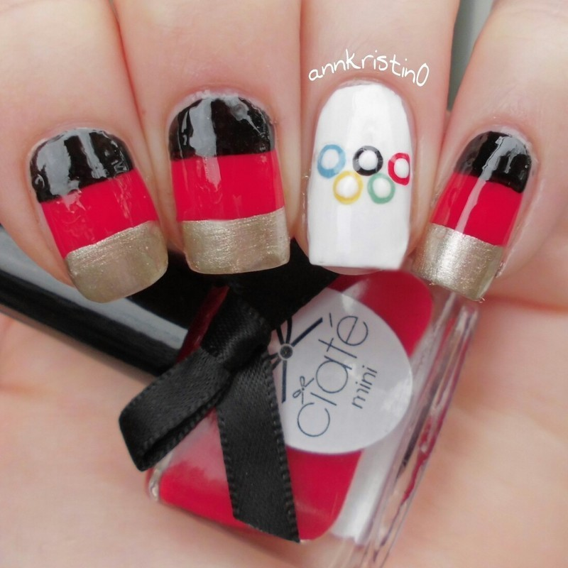 Germany for Olympia 2014 nail art by Ann-Kristin