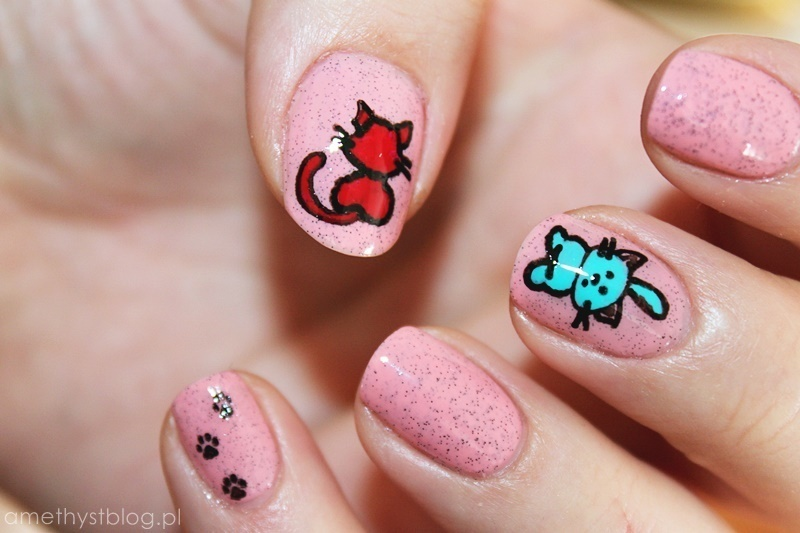 Sweet cat!!!  nail art by Amethyst