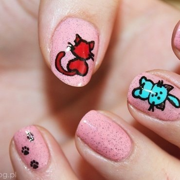 Sweet cat!!!  nail art by Amethyst