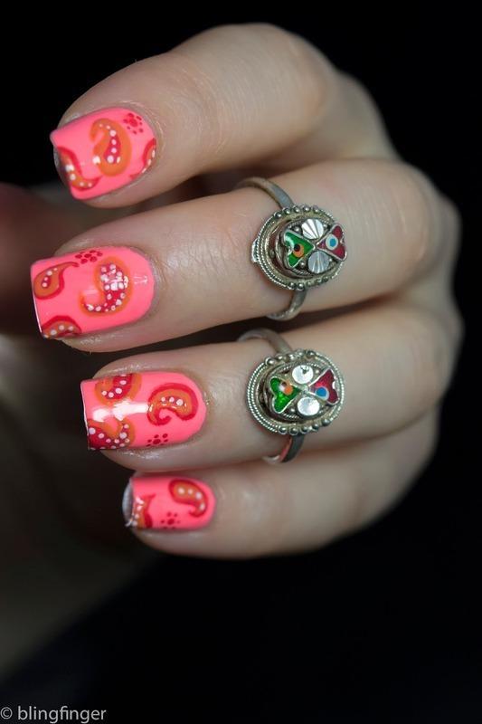 Coral Paisley nail art by  Petra  - Blingfinger