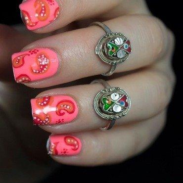 Coral paisley print nail art3 thumb370f