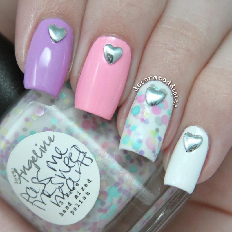 Heart studded valentine mani nail art by Jordan