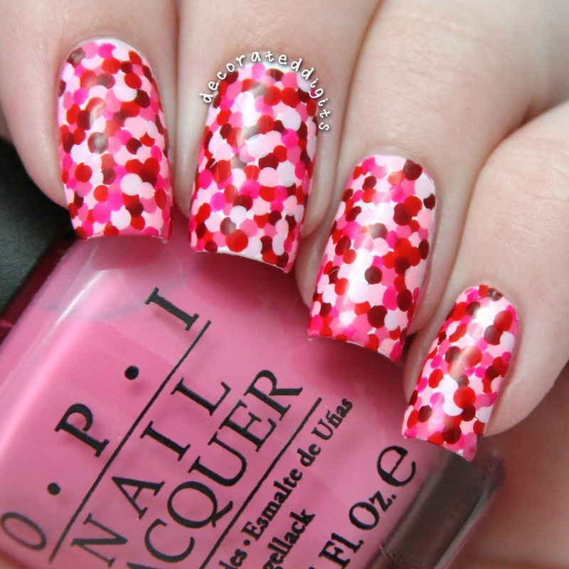 Valentine polka dots nail art by Jordan