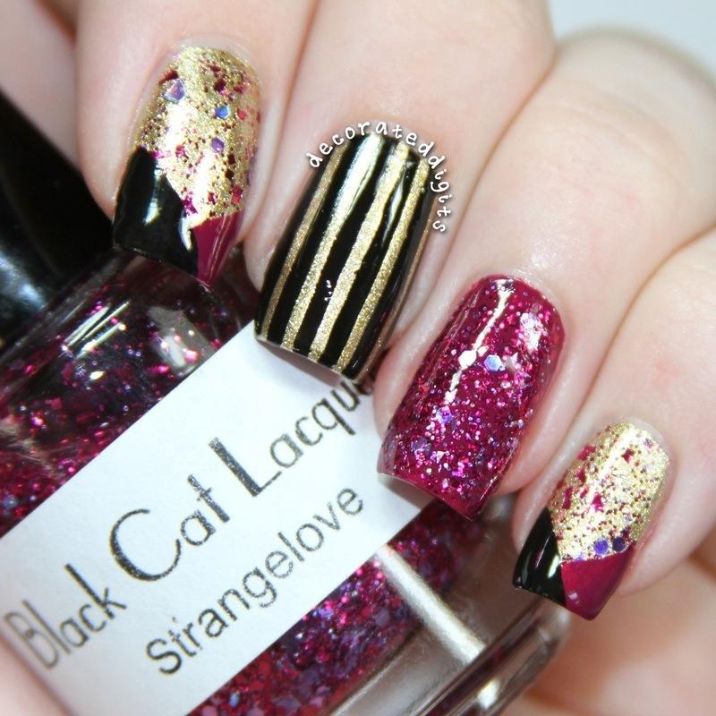 Strange Love skittlette nail art by Jordan