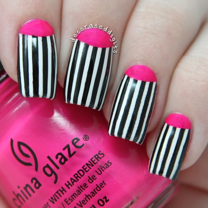 Pink half moon with stripes nail art by Jordan