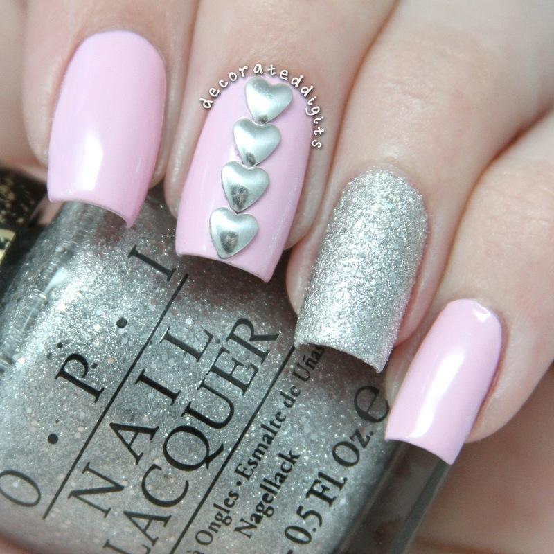 Pink and silver valentine mani nail art by Jordan