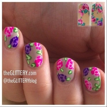 flowers inspired by nail stickers! nail art by Ari  Fund