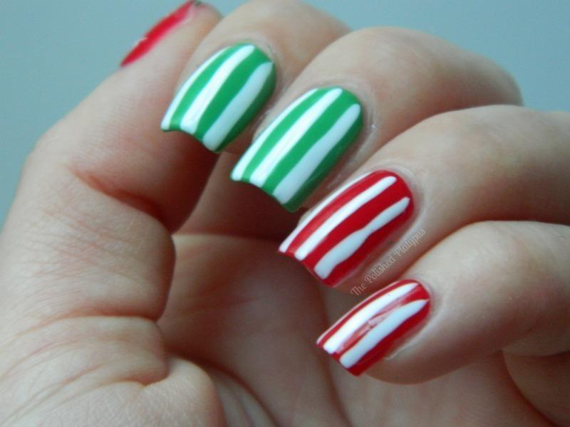 Christmas Stripes nail art by Allie  Hartman