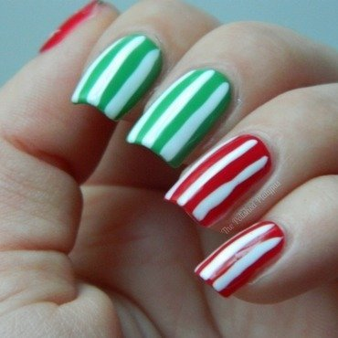 Christmas Stripes nail art by Allie  Hartman
