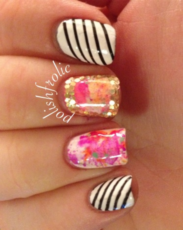 Splatter Party nail art by Anna