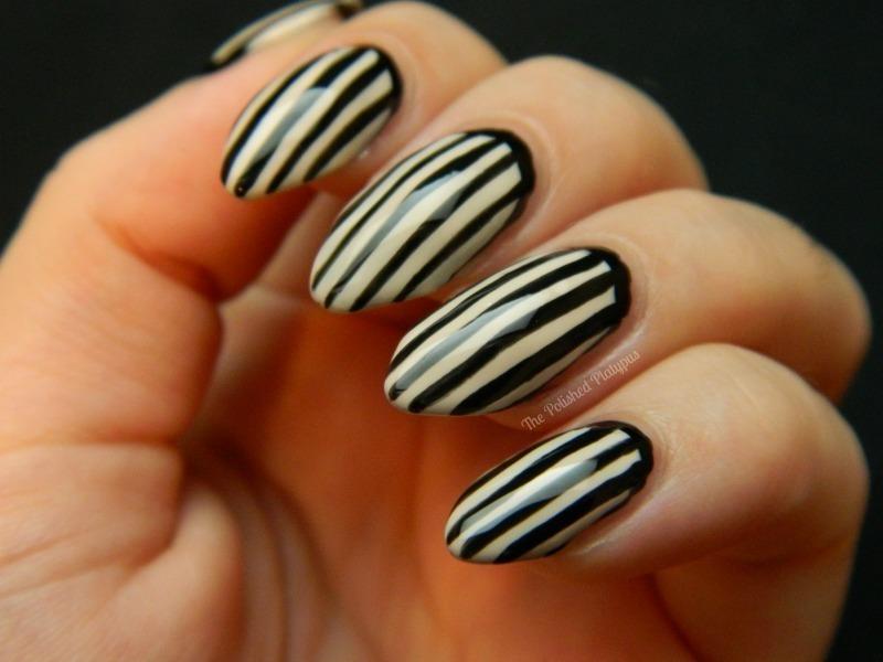 Black/Nude Stripes nail art by Allie  Hartman