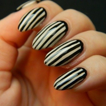 Black/Nude Stripes nail art by Allie  Hartman