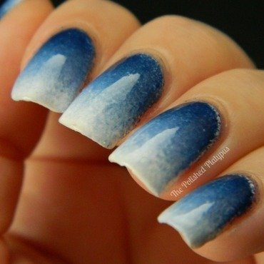 Blue/White Gradient nail art by Allie  Hartman