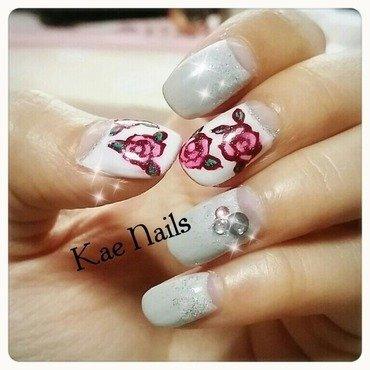 Rosy Roses nail art by Karen
