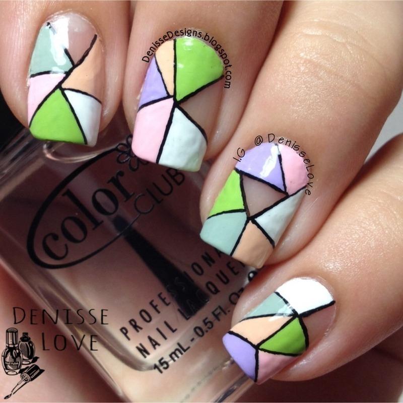 Negative space manicure nail art by Denisse Love