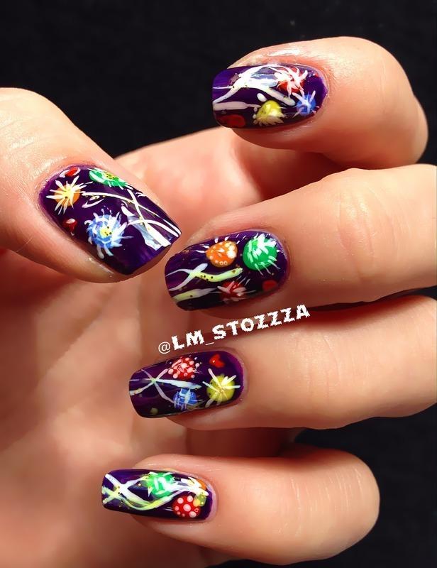 Purple summer nail art by Louise