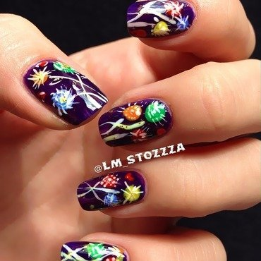 Purple summer nail art by Louise