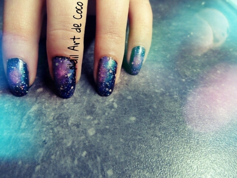 Galaxy Nails nail art by Coco
