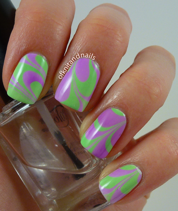 Second ever watermarble nail art by Julie