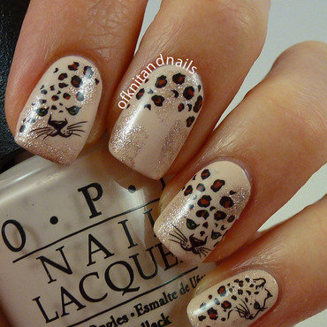 Cheetah Water Decals on Nude nail art by Julie