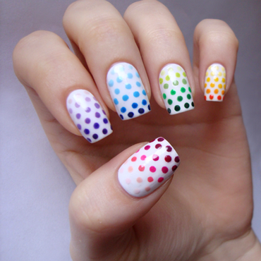 Skittles, gradient and dots nail art by ania