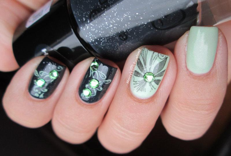 Black & Mint nail art by Marina