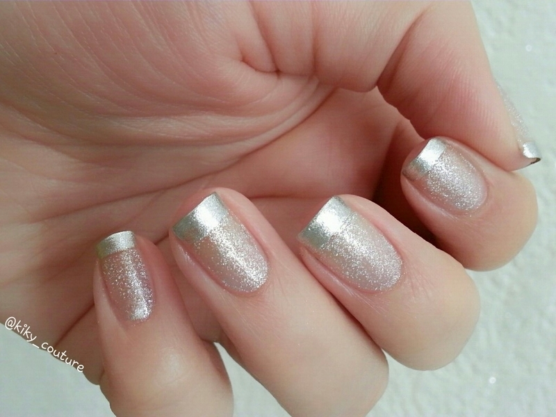 Diamond French Mani nail art by Ximena Echenique