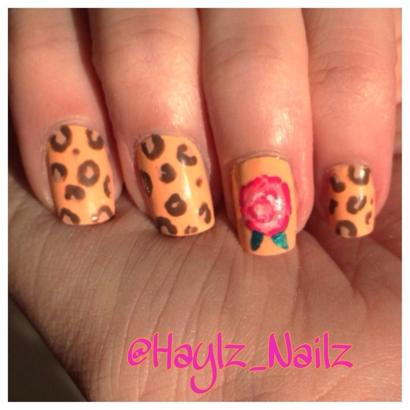 Vintage rose and print nail art by Hayley
