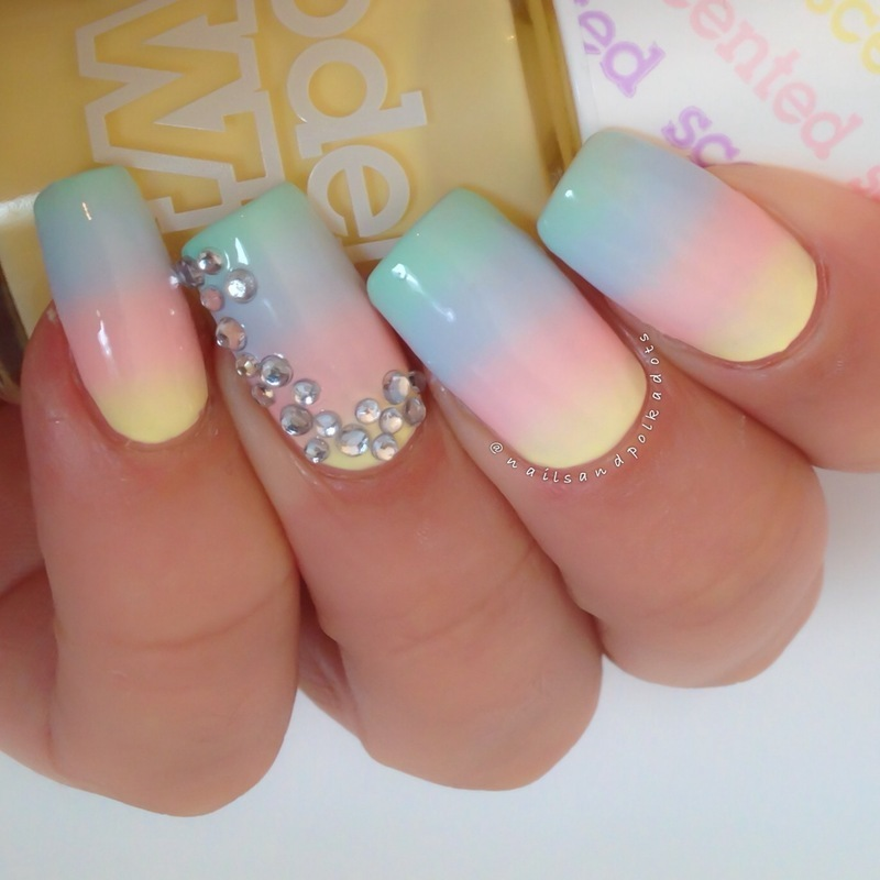 Pastel Gradient With Rhinestones nail art by Nailsandpolkadots