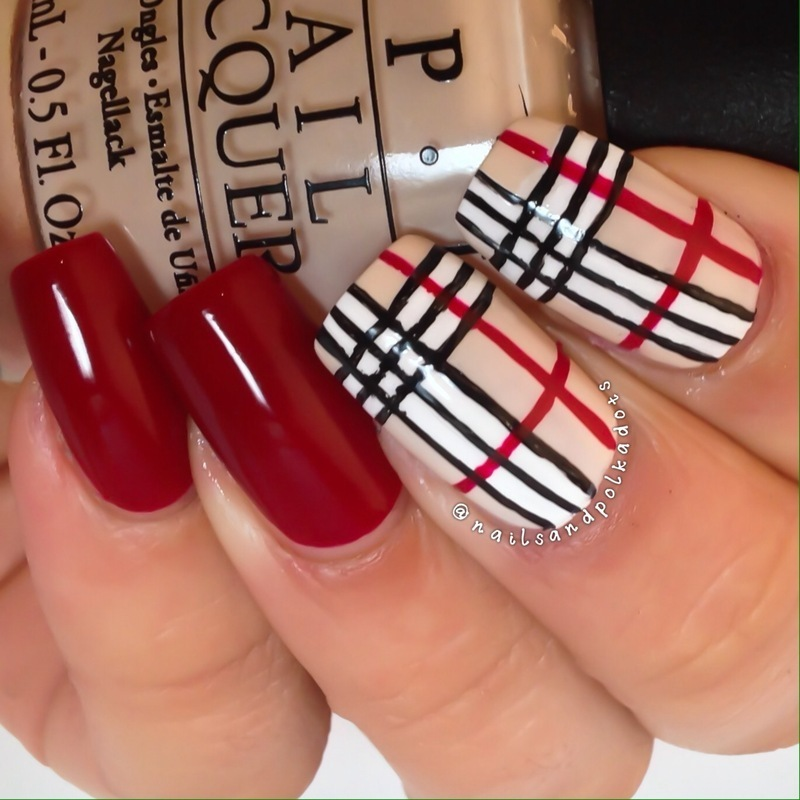 Burberry Nails nail art by Nailsandpolkadots