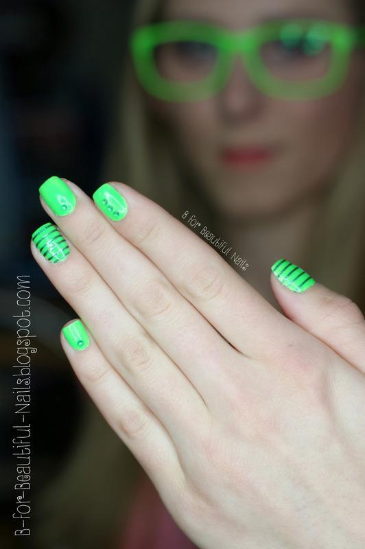 Neon Green Nail Art By B Nailpolis Museum Of Nail Art