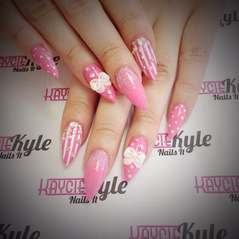 Baby pink love nail art by Kaycie Kyle