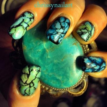 Turquoise Stone inspired nail art nail art by Chrissy