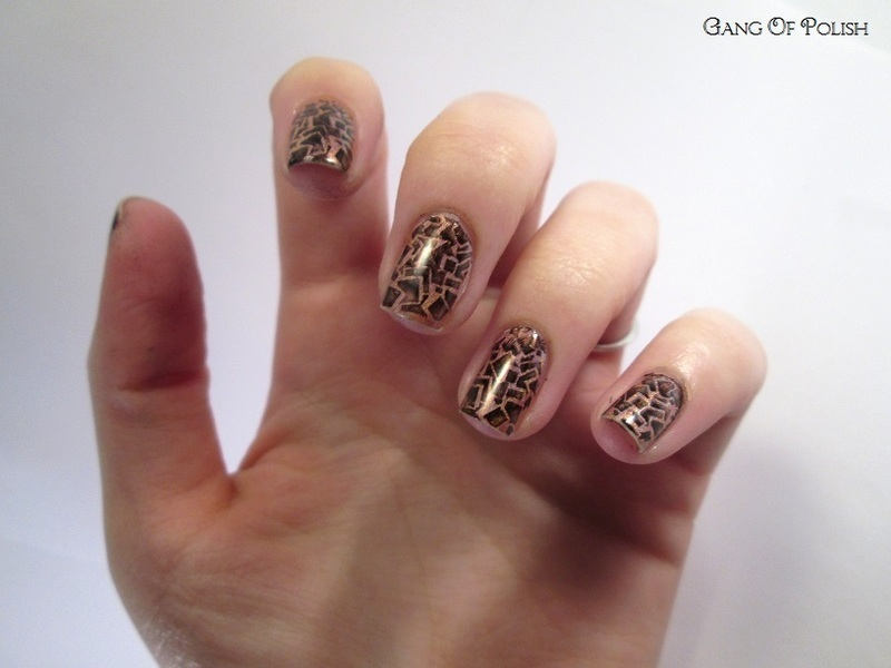 Black Stamp on Roses nail art by Gang Of Polish