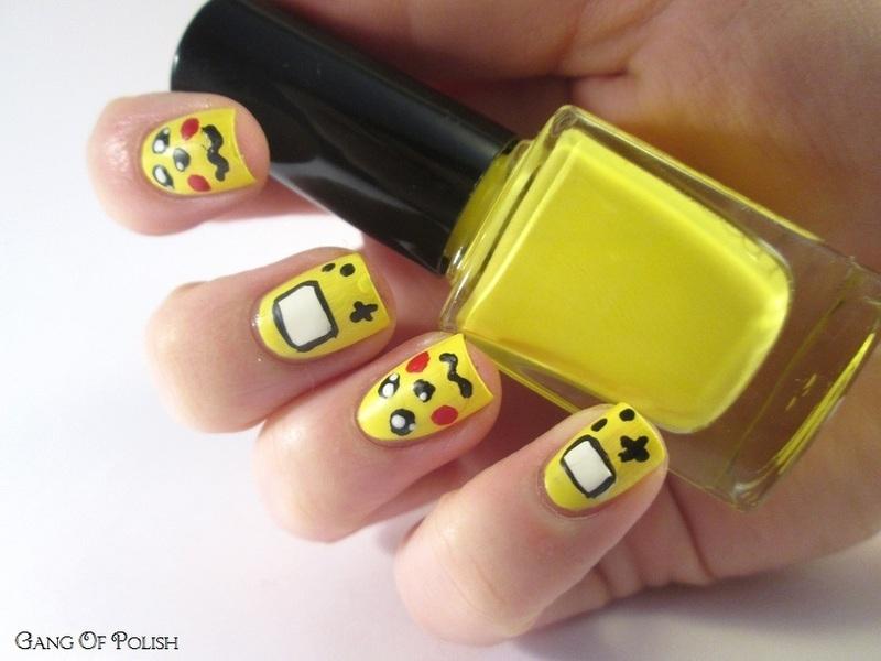 Pikachu game Boy nail art by Gang Of Polish