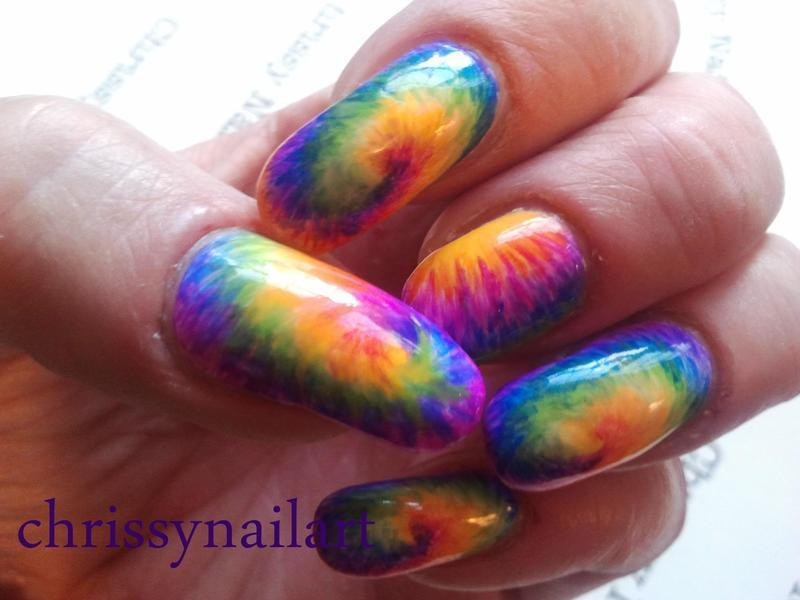 Bright and Neon Tie Dye nails nail art by Chrissy
