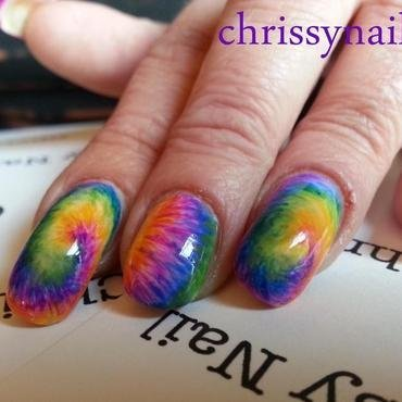 Colorful tie dye nail art by Chrissy