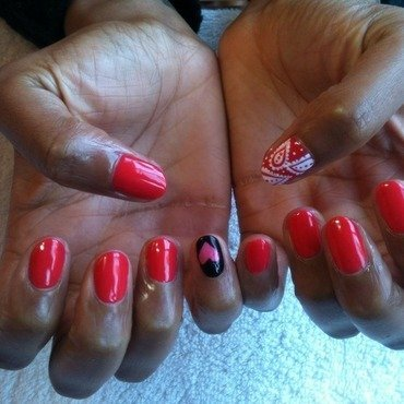 Hearts & paisley  nail art by Keziah