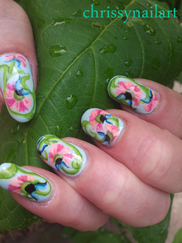 Morning Glory nails for Spring nail art by Chrissy