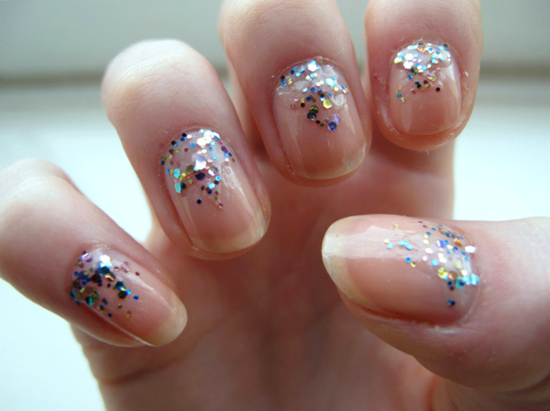 Glitter Gradient nail art by Madie