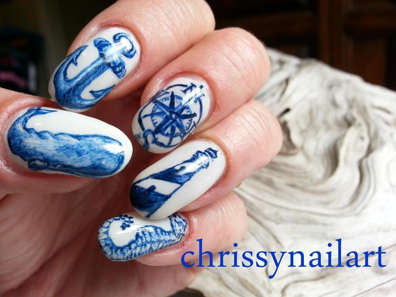 Scrimshaw inspired Nautical nail art nail art by Chrissy - Nailpolis ...